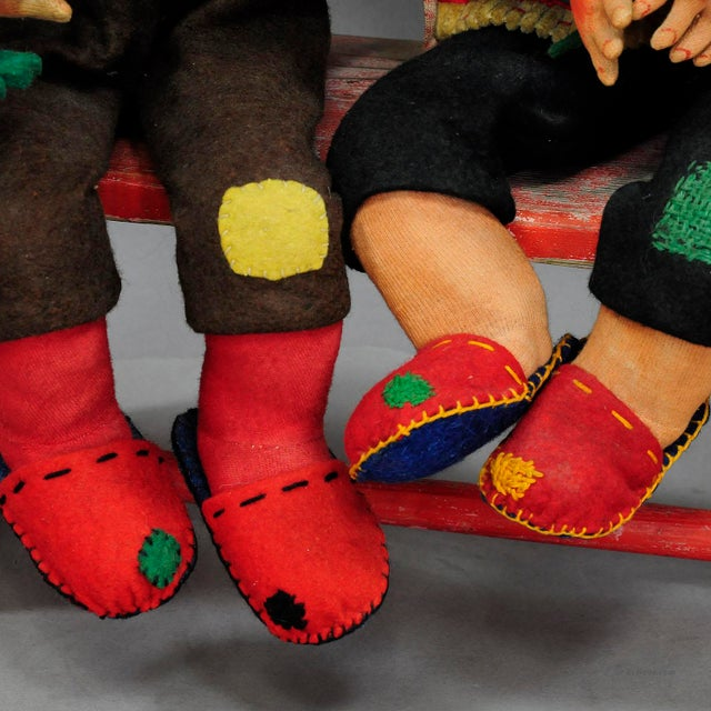 Red A Pair Of Whimsical Handmade Felt Gnomes, Germany Ca. 1930 For Sale - Image 8 of 9