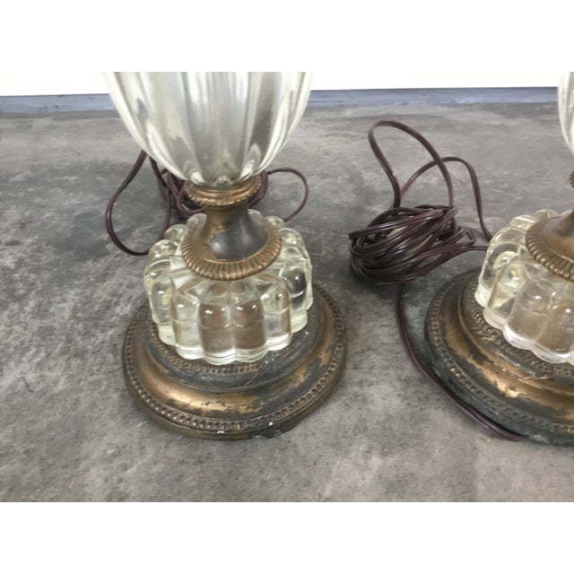 French 1900s Glass Table Lamps - a Pair For Sale - Image 3 of 10