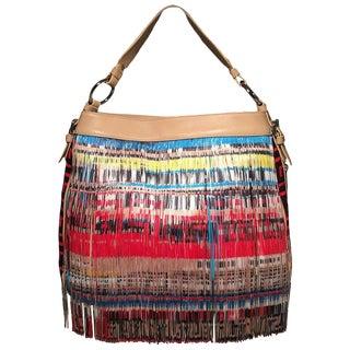 Versace Multicolor Fringe Leather and Twill Frida Hobo Shoulder Bag For Sale