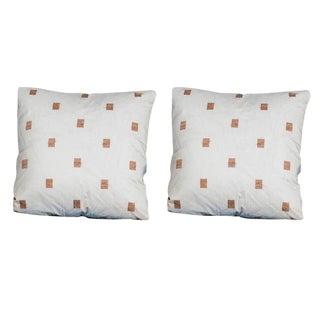"Pair of Custom 24′ x 24″ Pillows, ""Windows Gold"", Silk Organza"
