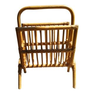 20th Century Boho Chic Bamboo and Rattan Magazine Holder For Sale