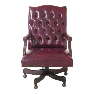 Hancock & Moore Tufted Burgundy Leather Office Desk Chair For Sale