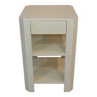Made Goods Lena Single Nightstand in Pristine Faux Raffia For Sale