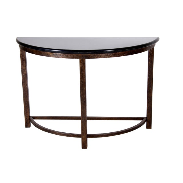 Semi-Circle Metal Console Table with Marble Top For Sale