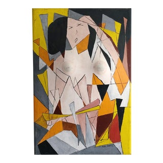 Original Vintage 1970 Marvin North Three Dimensional Abstract Geometric Female Nude Painting For Sale