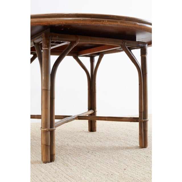 Ficks Reed Midcentury Rattan Dining Table For Sale In San Francisco - Image 6 of 13