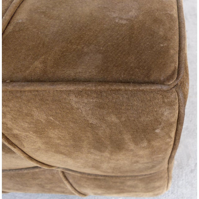 Early 21st Century Large Tufted Square Suede Ottoman For Sale - Image 5 of 9