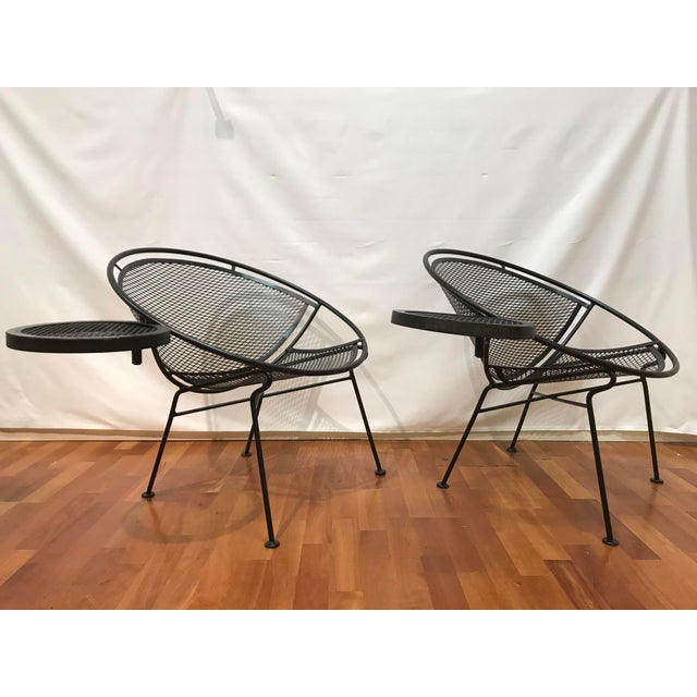 """This is set One of Four pair of Salterini Radar lounge chairs with an aftermarket 12"""" snack tray. Chairs measure with the..."""