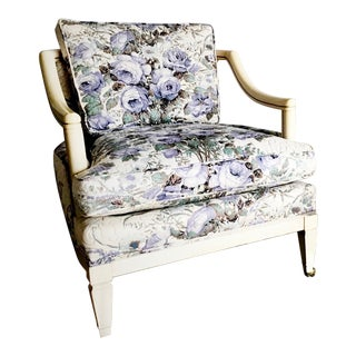 Baker Vintage Violet Floral Club Lounge Chair - Pair