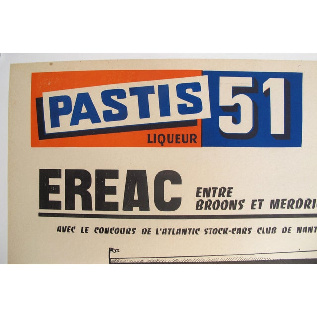 1960s French Stock-Cars Racing Poster, Pastis 51 Liquor Advertisement. For Sale - Image 4 of 5