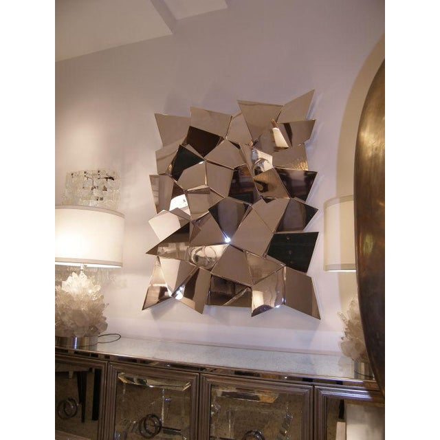 Modern Delaunay Chrome Mirror / Wall Sculpture by Craig Van Den Brulle For Sale - Image 3 of 5