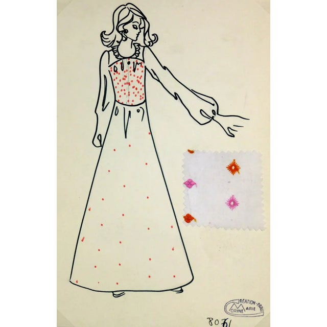 Vintage Paris Fashion Drawing - Embroidered Maxi Dress, C. 1980 For Sale