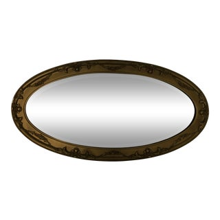 Antique Oval Mirror Beveled Glass C. 1900 For Sale