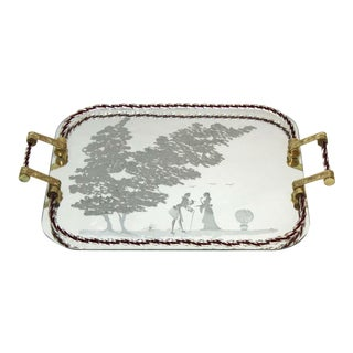 Barovier Attributed Hollywood Regency Murano Glass Mirrored Serving Tray For Sale