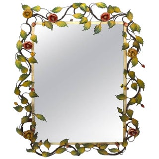 Romantic Foliate Trim Mirror of Painted Metal and Glass For Sale