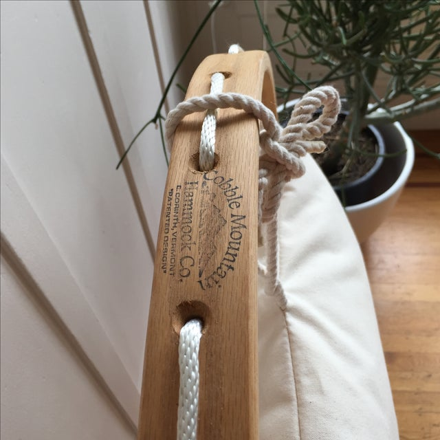 Bent Oak Rope Hanging Hammock Chair With Foothold - Image 7 of 7