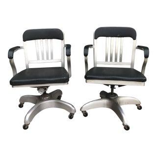 Vintage Industrial Black Swivel Chairs - A Pair