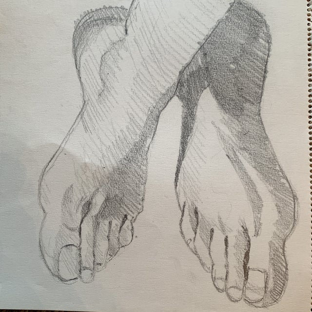 Graphite 1970s Graphite Artists Study of Feet Classical Style For Sale - Image 7 of 8