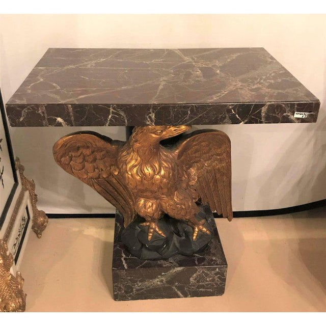 Hollywood Regency Large Gilded Eagle Marble-Top Console or Pedestal For Sale - Image 3 of 12