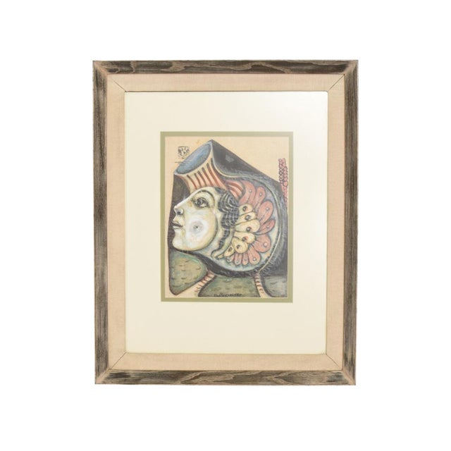 Modern Abstract Drawing Signed Rene Portocarrero For Sale