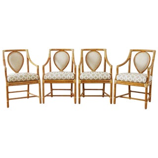 Set of Four McGuire Bamboo Rattan Linen Dining Armchairs For Sale
