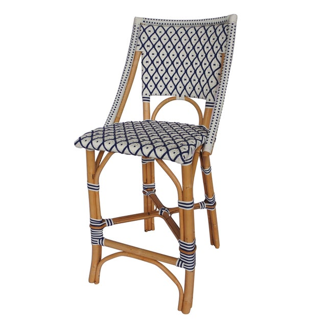 Coastal Bistro Counter Chair, White & Navy Blue, Rattan For Sale - Image 3 of 3