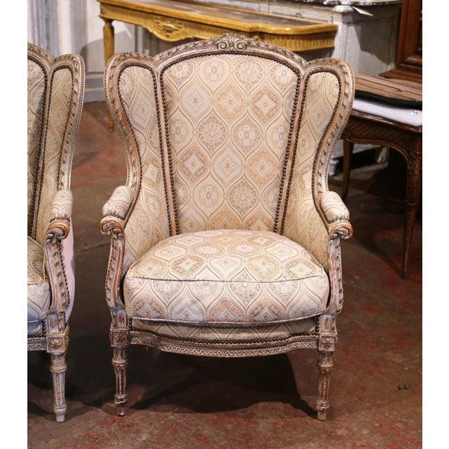 French 19th Century Louis XVI Carved and Painted Ear Shape Fauteuils - a Pair For Sale - Image 3 of 13