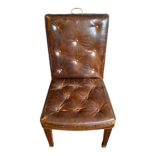 Hickory Chair With Brass Handle Brown Leather Tufted Tall-Back Chair For Sale