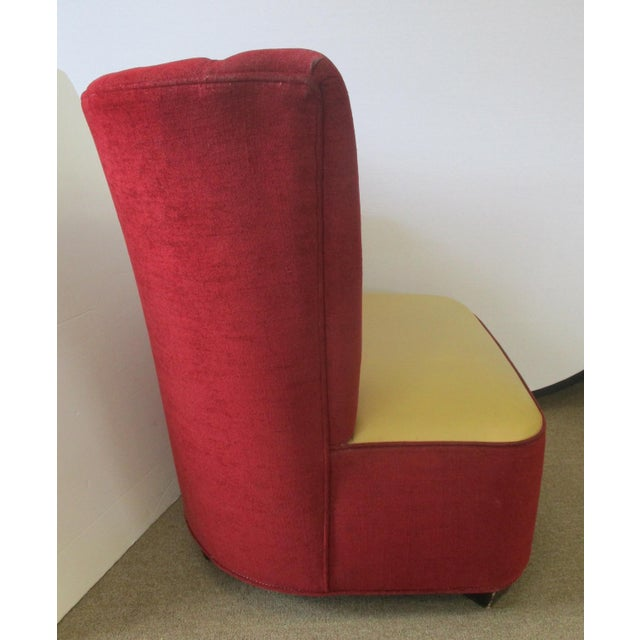 Red Mid-Century Channel Back Chairs - A Pair For Sale - Image 4 of 6