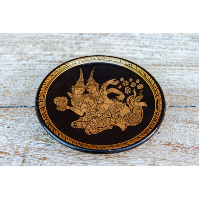1940s Painted Gilt Thai Plate For Sale - Image 5 of 6