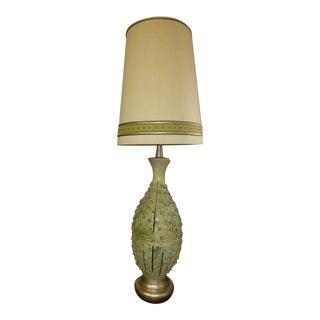 Feldman Vintage Green Floral Petals Porcelain Table Lamp With Shade For Sale