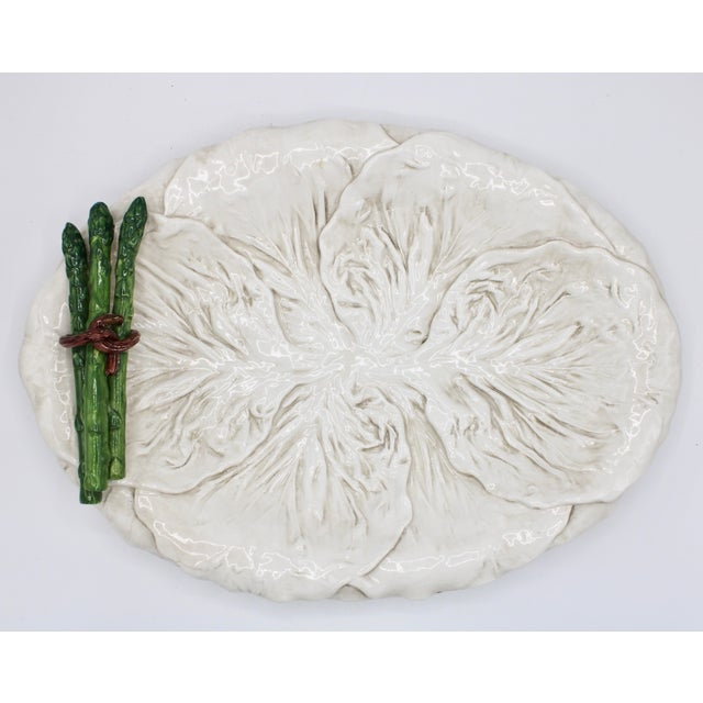 Mid Century Italian Ceramic White Cabbage Leaf and Asparagus Platter For Sale - Image 10 of 13
