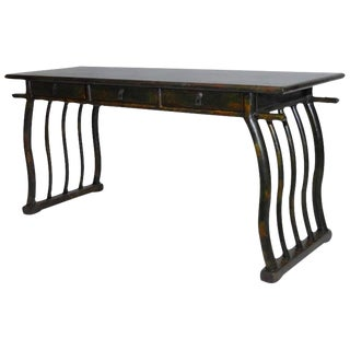 Chinese Deco Lacquered Desk With Serpentine Legs For Sale