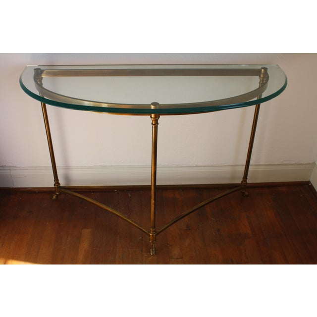 Brass & Glass Demi-Lune Table - Italian For Sale - Image 12 of 12