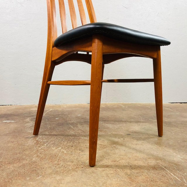 Animal Skin 1960s Niels Koefoed Teak and Black Leather Dining Chairs - Set of 4 For Sale - Image 7 of 10