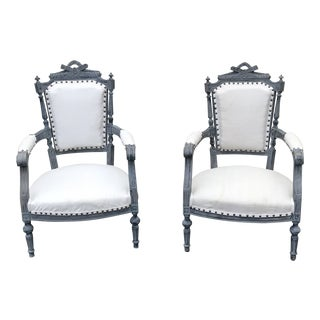 Gray & White Dining Chairs - a Pair