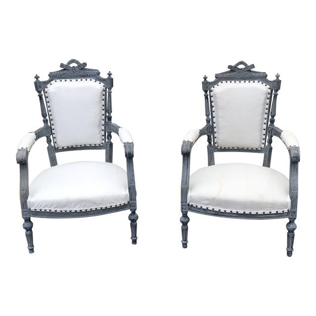 Gray & White Dining Chairs - a Pair For Sale