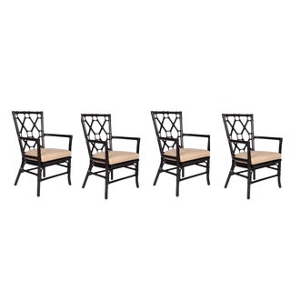 David Francis Rattan Lattice Dining Chairs - Set of 4