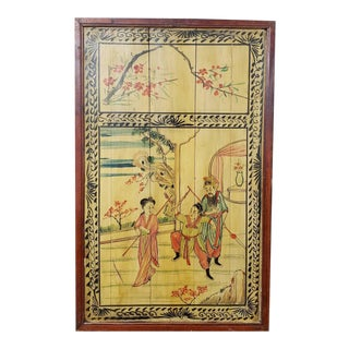 Early 20th Century Chinese Framed Lacquered Painting on Wood Panels For Sale
