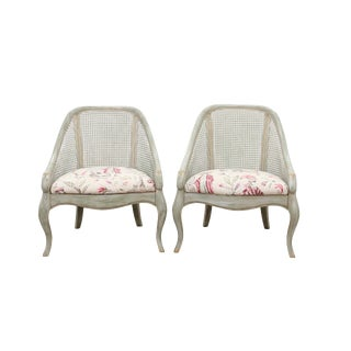 1960s Vintage Drexel Caned Barrel Back Chairs- A Pair For Sale