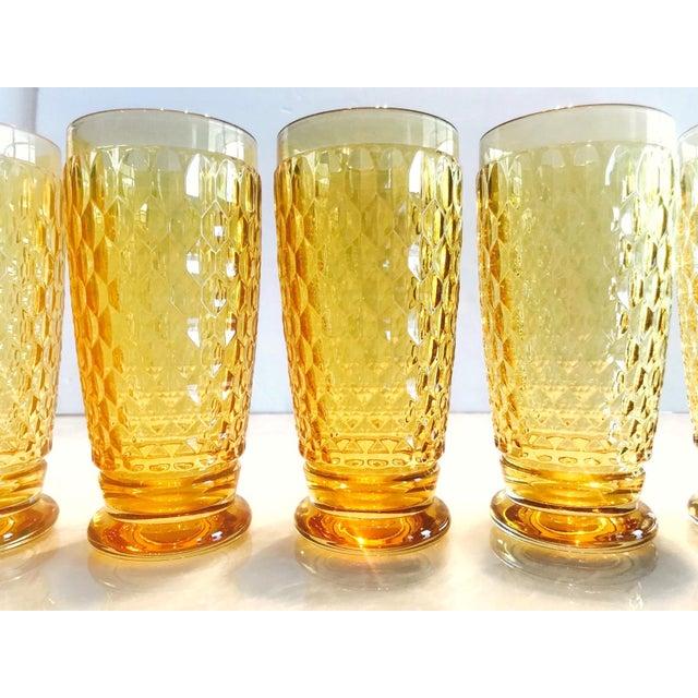 Villeroy & Boch Set of Seven Vintage Villeroy & Boch Crystal Highball Glasses in Amber For Sale - Image 4 of 13
