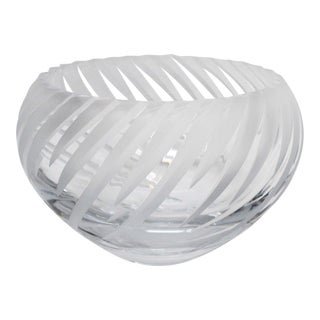 Crystal Cut Frosted Bowl For Sale