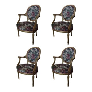 Louis XVI Style Gilded Armchairs and Reeded Legs, 20th Century - Set of 4 For Sale