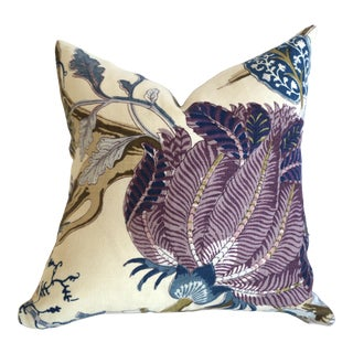 Schumacher Indian Arbre Pillow Cover 16x16 Hyacinth For Sale