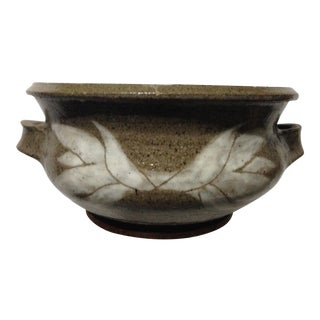 Signed Mid Century Stoneware Pottery Bowl For Sale