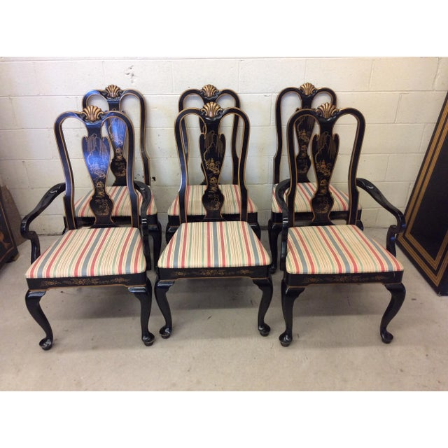 Beautiful, classic set of 4 sides and 2 arm chairs by Drexel Heritage. One chair still has the label on it. Great vintage...
