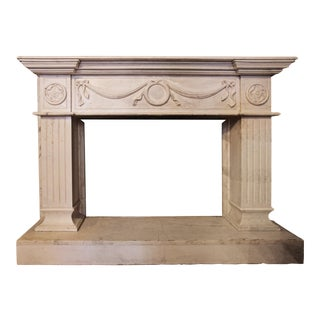 Mantel - Antique White Marble For Sale