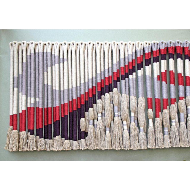 Privately Commissioned Jane Knight Fiber Art Installation 'Red and Gray Wave' For Sale - Image 4 of 8