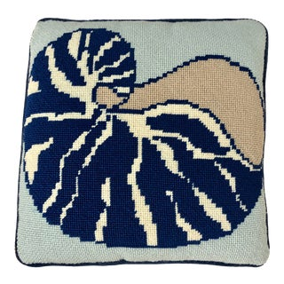 1990s Vintage Hand Stitched Nautilus Pillow in Navy and Tan With Navy Velvet Back For Sale