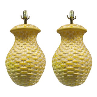 Yellow Ceramic Basket Weave Table Lamps - Pair For Sale